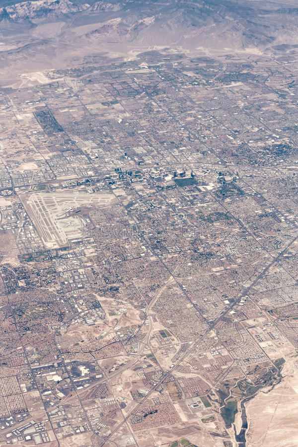 Aerial view of Las Vegas, Nevada royalty free stock photography