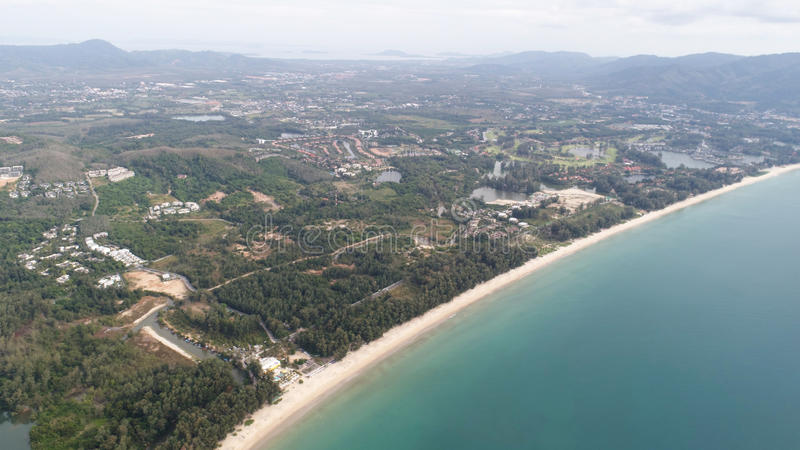 Aerial view of Layan beach in Phuket royalty free stock image