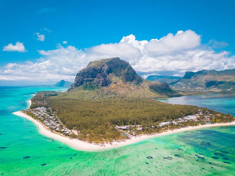 Aerial view of Le morne Brabant in Mauriutius, panoramic view on island. stock photos