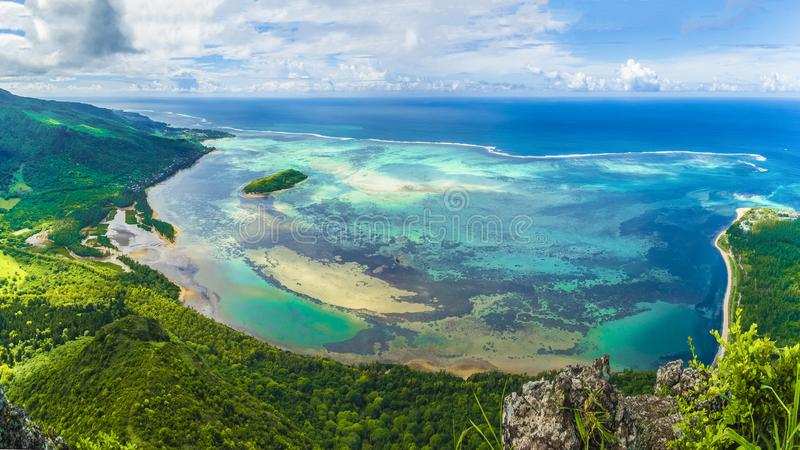 Aerial view of Le Morne Brabant mountain, Mauritius island, Africa. Aerial view of Le Morne Brabant mountain, Mauritius island royalty free stock image