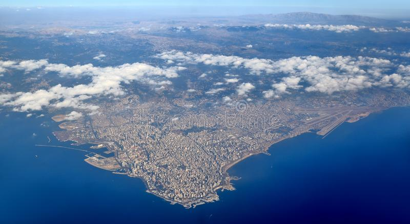 Aerial view of Lebanon from the mountains to the sea. stock photo