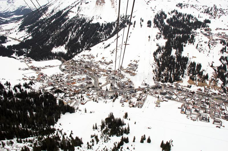Aerial View of Lech am Arlberg from Cable Car stock photography