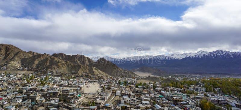 Aerial View Leh city in India stock photos