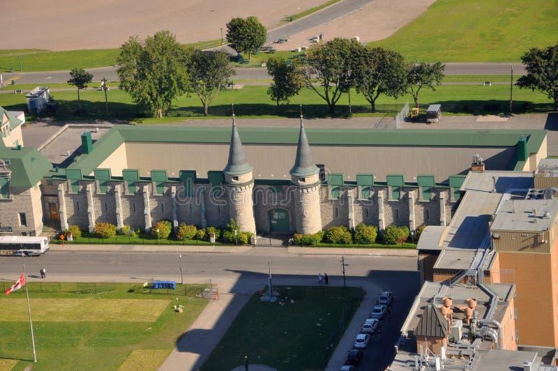 Les Voltigeurs de Quebec museum, Old Quebec City, Canada. Aerial view of Les Voltigeurs de Quebec museum in Old Quebec City in summer, view from Observatoire de stock images