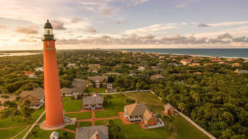 Aerial view of lighthouse in Daytona Beach Florida. Aerial view of Ponce de Leon Inlet lighthouse in Daytona Beach Florida royalty free stock photography