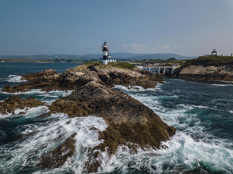 Aerial view of the lighthouse on Pancha island. Northern Spain in summer stock photo