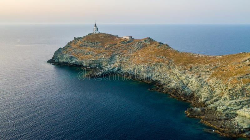 Aerial view of the Lighthouse and Tower on the island of Giraglia. Cap Corse peninsula. Corsica. France stock images