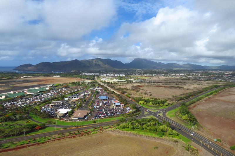 Aerial view of Lihue, Kauai, Hawaii. Aerial view of Lihue, photo taken from a doors off helicopter, Kauai, Hawaii royalty free stock photography