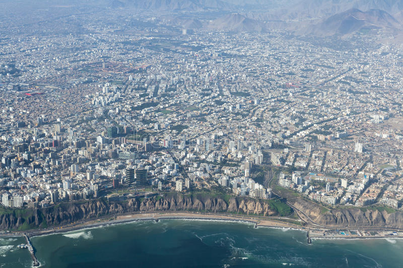 Aerial view of Lima Peru. Lima Peru - May 11 : Aerial view of the City of Lima with the districts of Miraflores and Barranco in the frame. May 11 2016, Lima Peru stock photos