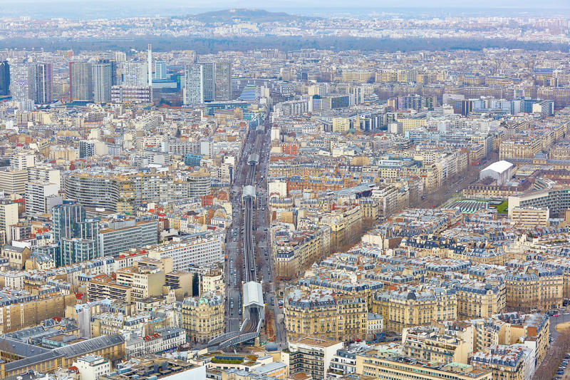 Aerial view of line 6 of Parisian metro. Seen form the Montparnase tower royalty free stock images