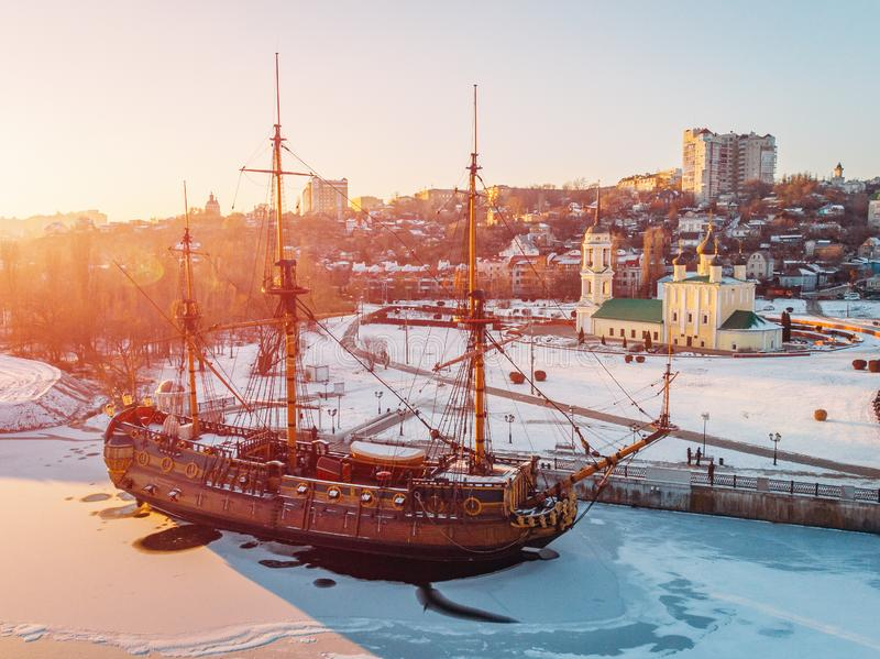 Aerial view of Linear ship Goto Predestination on Admiralty Square at embankment of Voronezh river royalty free stock image