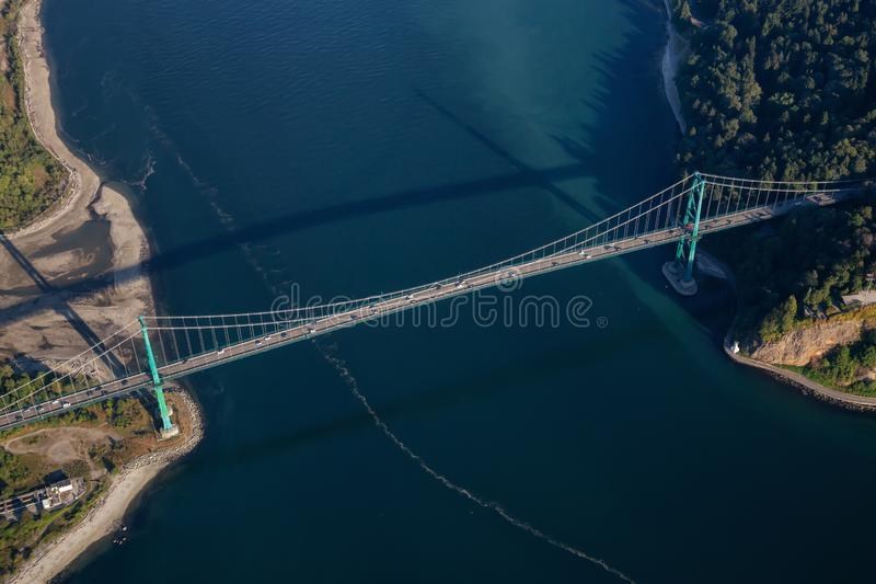 Aerial view of Lions Gate Bridge in Stanley Park royalty free stock photo
