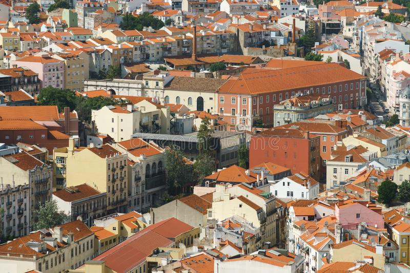 Aerial View Of Lisbon City Rooftops, Portugal. Aerial View Of Lisbon City Rooftops In Portugal royalty free stock photography