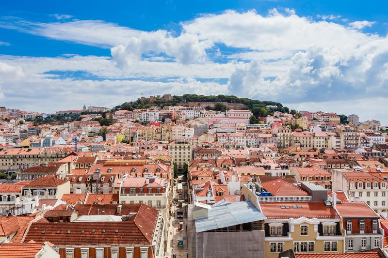 Lisbon downtown and Santa Justa Street to Sao Jorge Castle hill from panoramic platform of Elevador de Santa Justa. Aerial view of Lisbon downtown and Santa stock image