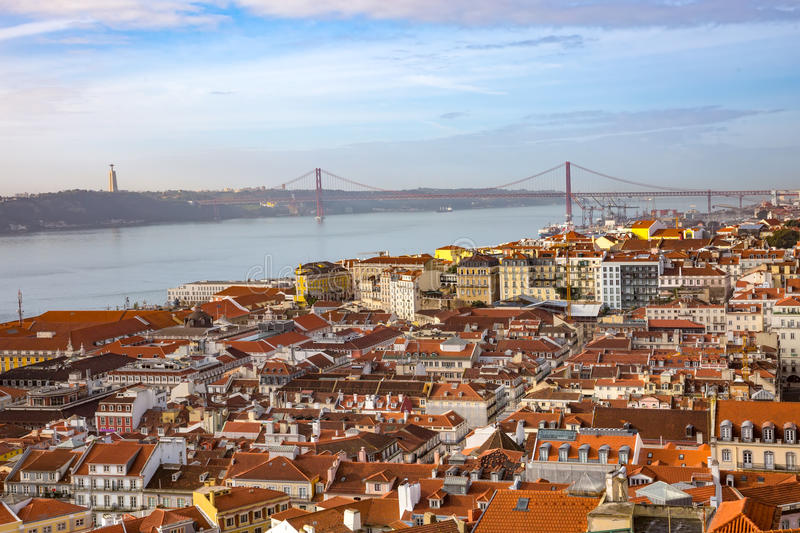 Aerial view of Lisbon royalty free stock photography