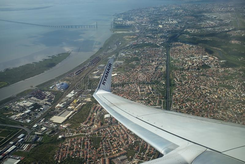 Aerial view of Lisbon - Vasco da Gama Bridge royalty free stock images