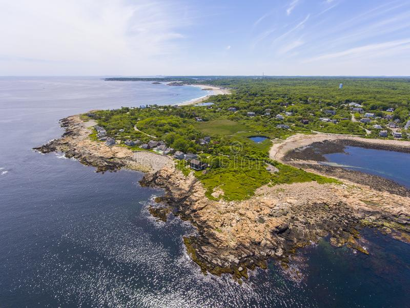 Loblolly Point, Cape Ann, MA, USA. Aerial view of Loblolly Point coast near Thacher Island in Rockport, Cape Ann, Massachusetts, USA royalty free stock image