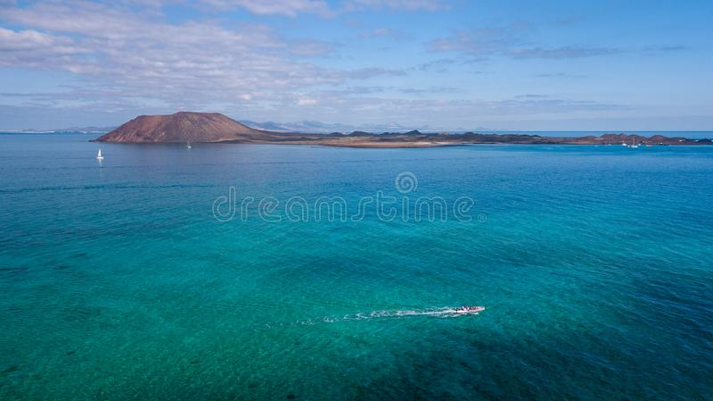 Aerial view lobos island, fuerteventura. With boats stock photos