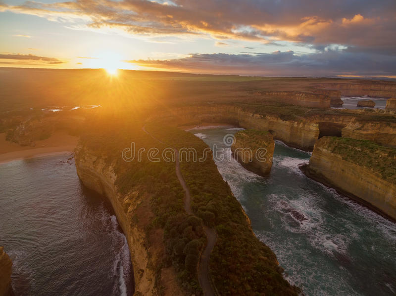Aerial view of Loch Ard Gorge at sunrise stock image