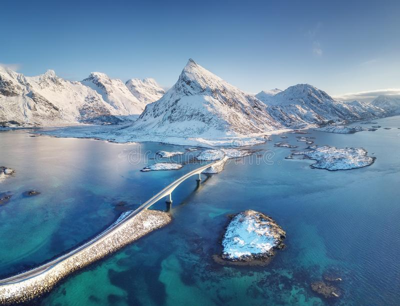 Aerial view on the Lofoten islands, Norway. Natural landscape from drone. Bridge adove islands. Aerial landscape from air in the N. Orway. Norway-image royalty free stock photo