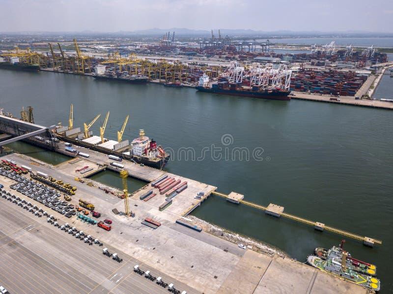 Aerial view of logistics concept Dockyard stock image