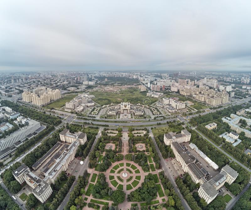 Aerial view of Lomonosov Moscow State University MGU on Sparrow Hills, Moscow, Russia. Aerial drone panorama view. Aerial view of Lomonosov Moscow State royalty free stock images