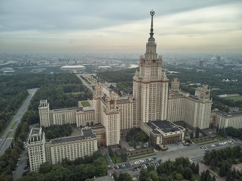 Aerial view of Lomonosov Moscow State University MGU on Sparrow Hills, Moscow, Russia. Aerial drone panorama view. Aerial view of Lomonosov Moscow State royalty free stock photos