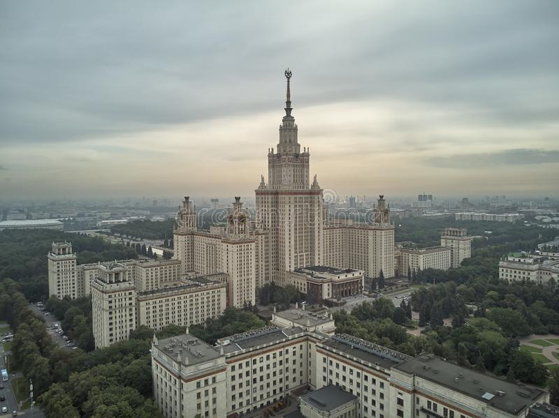 Aerial view of Lomonosov Moscow State University MGU on Sparrow Hills, Moscow, Russia. Aerial drone panorama view. Aerial view of Lomonosov Moscow State stock photography
