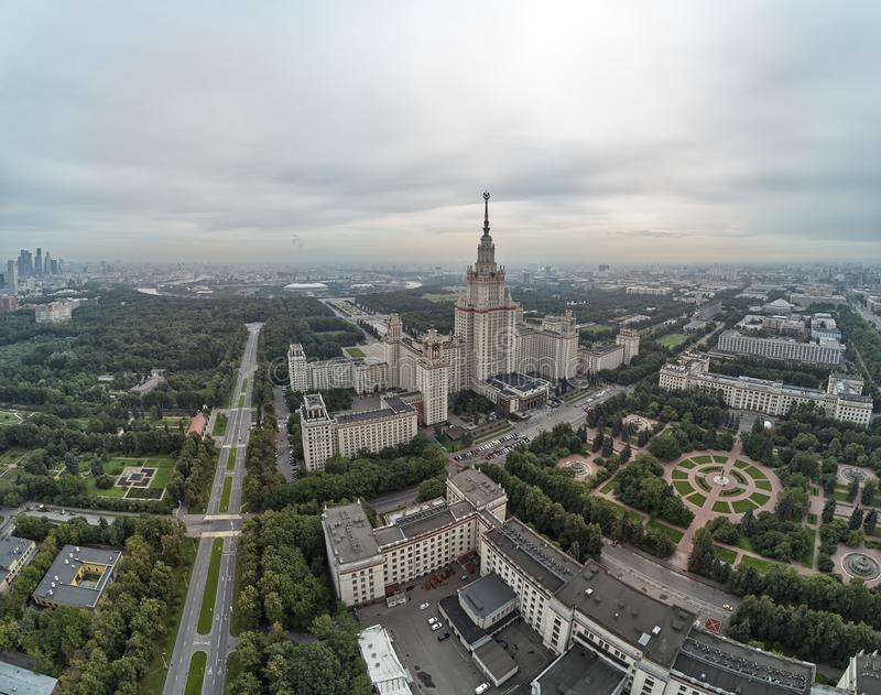 Aerial view of Lomonosov Moscow State University MGU on Sparrow Hills, Moscow, Russia. Aerial drone panorama view. Aerial view of Lomonosov Moscow State stock image