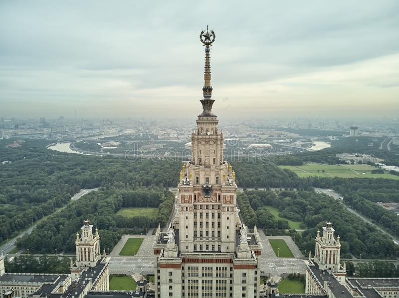 Aerial view of Lomonosov Moscow State University MGU on Sparrow Hills, Moscow, Russia. Aerial drone panorama view. Aerial view of Lomonosov Moscow State royalty free stock photo