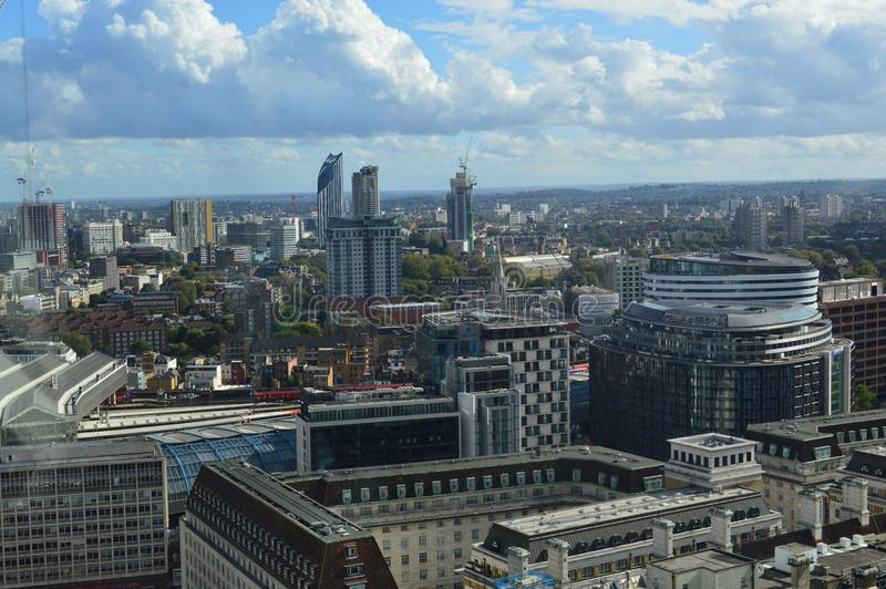Aerial View of London. Aerial View of architecture and buildings in England stock images