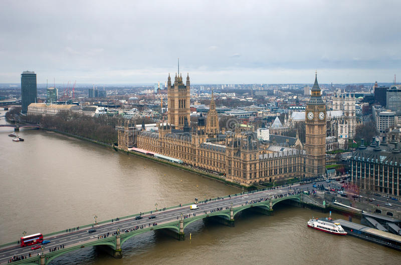 Aerial view of London with Big Ben, Westminster Palace royalty free stock photo