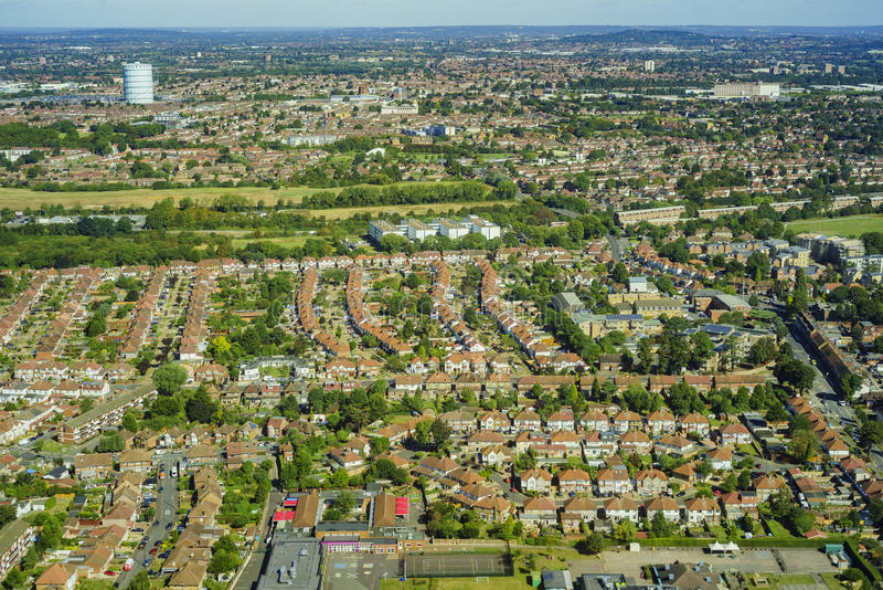 Aerial view of London. Aerial view of Heston, Norwood Green, North Hyde, Southall Green near London, United Kingdom stock photos