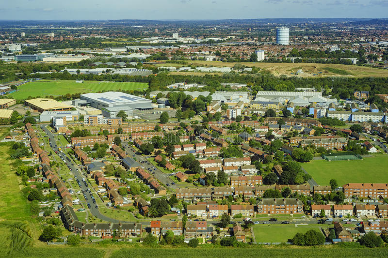 Aerial view of London. Aerial view of Heston, Norwood Green, North Hyde, Southall Green near London, United Kingdom royalty free stock photos