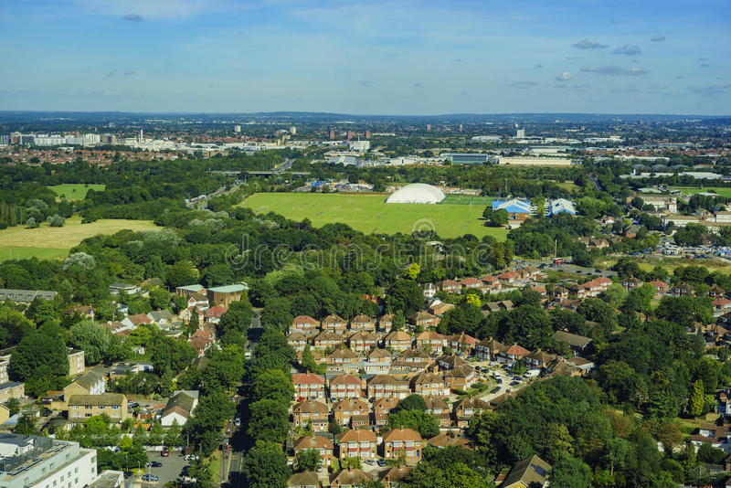 Aerial view of London. Aerial view of Heston, Norwood Green, North Hyde, Southall Green near London, United Kingdom stock photography