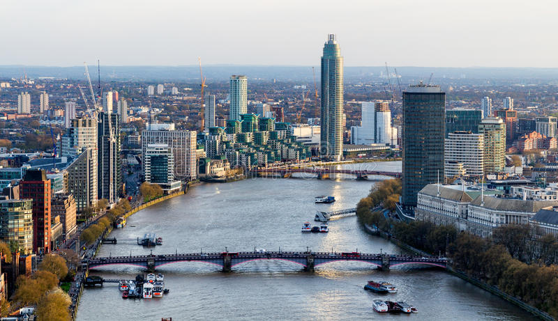 Aerial view of London and the River Thames, UK stock images
