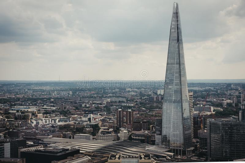 Aerial view of London skyline and the Shard, London, UK. stock image