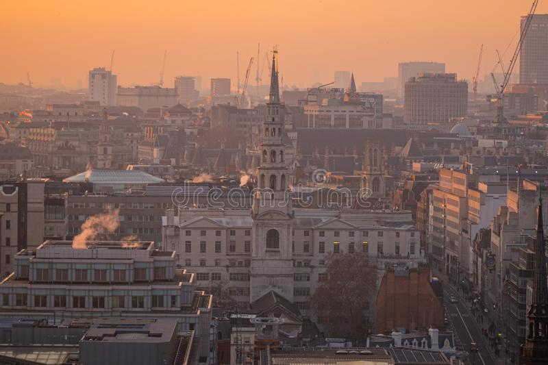 Aerial view of London from St.Paul`s Cathedral, United Kingdom stock photo