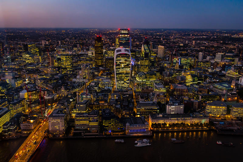 Aerial view of London during sunset stock images