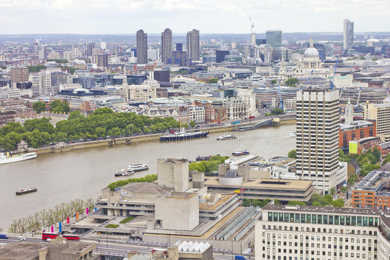 Aerial view of London and the Thames River royalty free stock photos