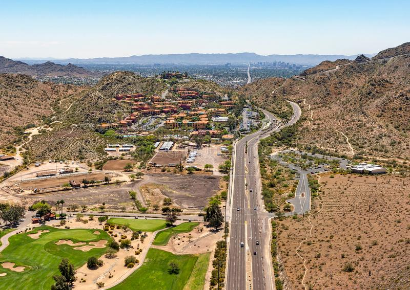 Aerial view looking south down 7th Street in Phoenix stock photo