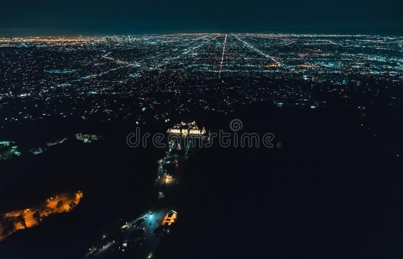 Aerial view of Los Angeles from behind Griffith Park royalty free stock images