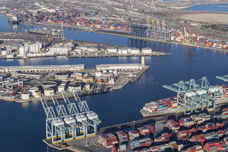 Aerial View of Los Angeles Harbor royalty free stock image