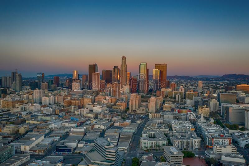 Aerial view of Los Angeles at sunrise. In California stock images