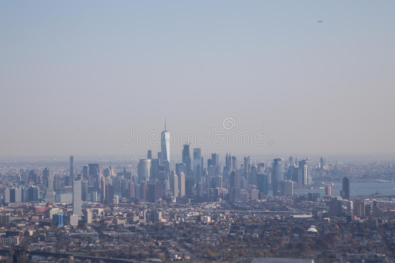 Aerial view of Lower Manhattan skyline , New York. Aerial view of the skyline of Lower Manhattan skyline in New York, USA stock photography