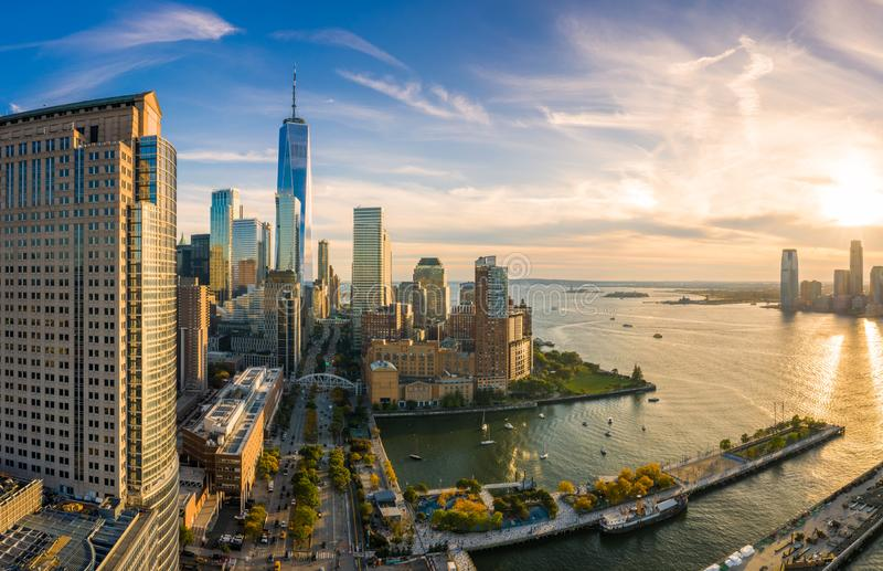 Aerial view of Lower Manhattan skyline at sunset. Viewed from above West Street in Tribeca neighborhood stock photography