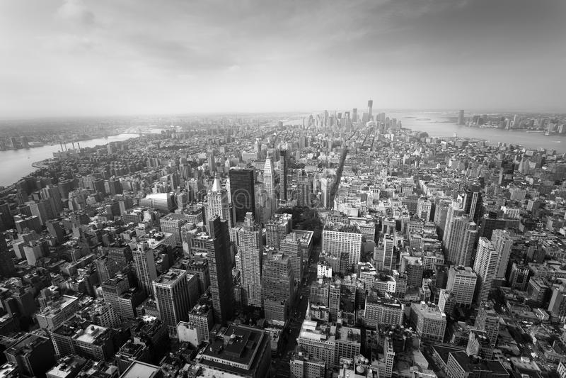 Manhattan New York City - Aerial view of Lower Manhattan NY stock photo