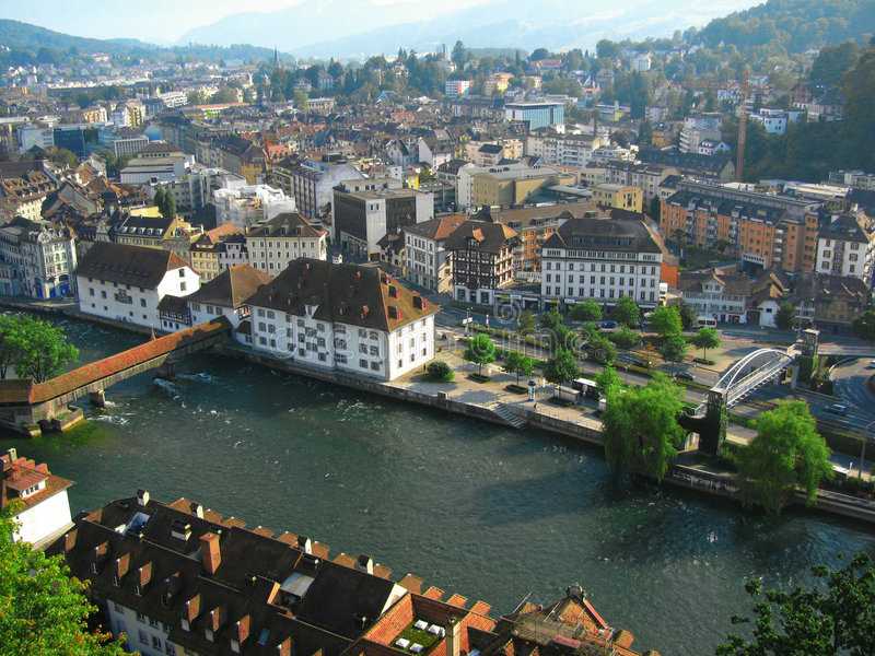Aerial view of Lucerne, Switzerland 2 royalty free stock images