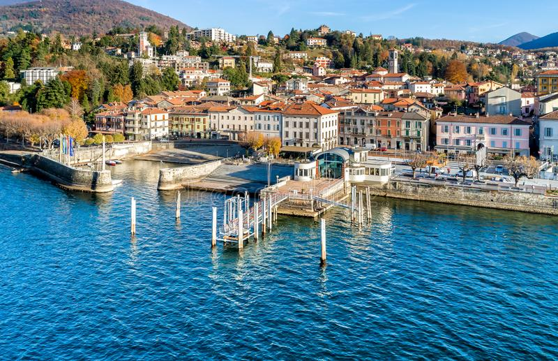 Aerial view of Luino, province of Varese, Italy. Aerial view of Luino, is a small town on the shore of Lake Maggiore in province of Varese, Italy stock image