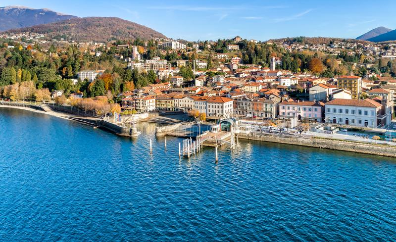 Aerial view of Luino, province of Varese, Italy. Aerial view of Luino, is a small town on the shore of Lake Maggiore in province of Varese, Italy royalty free stock photography